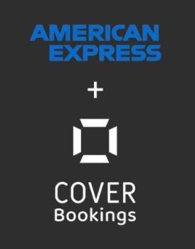 Logotipo de American Express mas logotipo de Cover Bookings