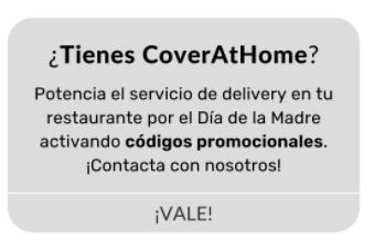 Mensaje de texto en el que aparece: ¿Tienes CoverAtHome? e información acerca de códigos promocionales para el día de la madre.