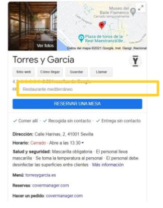 Buscador de google con un restaurante y el mapa donde se encuentra, información sobre el mismo y la opción de reservar.