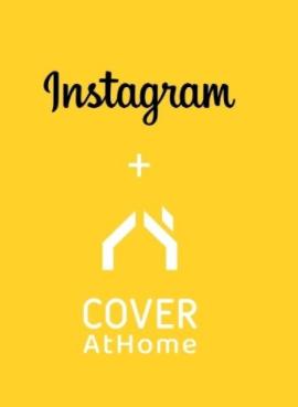cuadro amarillo con la palabra Instagram, un símbolo de más y el logotipo de CoverAtHome
