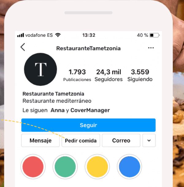 Perfil de Instagram de un restaurante en el que aparece la opción de pedir comida.