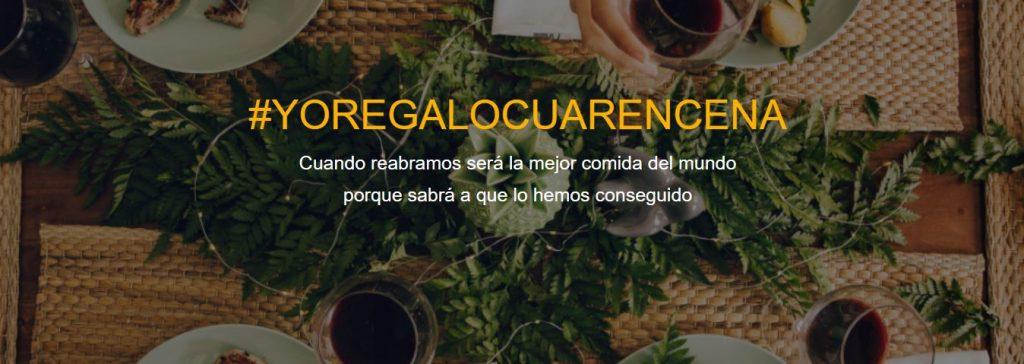 """Imagen mesa de fondo con texto encima """"#YOREGALOCUARENCENA y un slogan"""