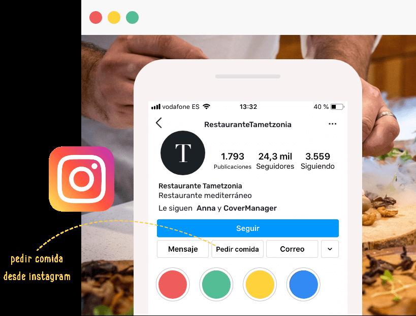 Ejemplo de botón para pedir Instagram