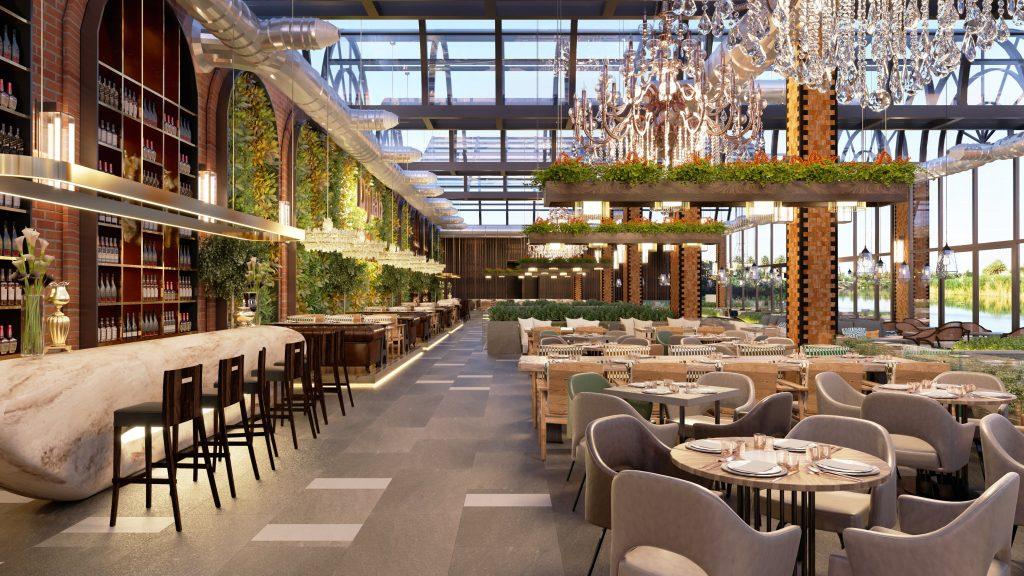 sala de restaurante de hotel dispuesta de mesas preparadas para comer